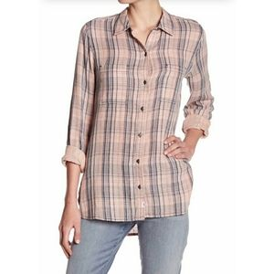 Melrose & Market Blush Plaid Button Down Top
